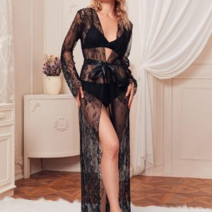 Sheer Belted Floral Lace Belted Robe