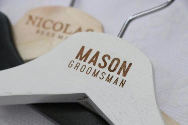 1Laser Engraved Groom and Groomsman Hangers