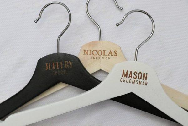 Laser Engraved Groom and Groomsman Hangers