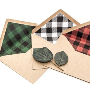Pack of 10 Lumberjack Plaid Lined Envelopes - Style #636459192