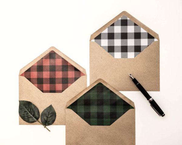 Pack of 10 Lumberjack Plaid Lined Envelopes - Style #636459192