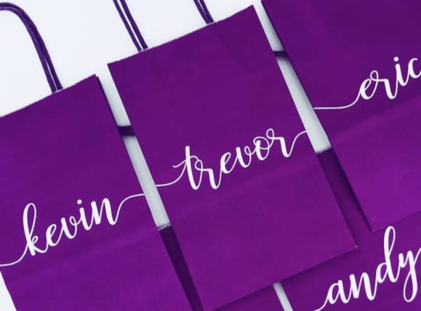 Personalized Wedding Gift Bags in Eggplant Purple - Style #761116260