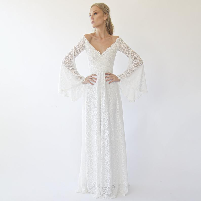 Style #840214415 - Off the shoulder wrap wedding dress with bell sleeves