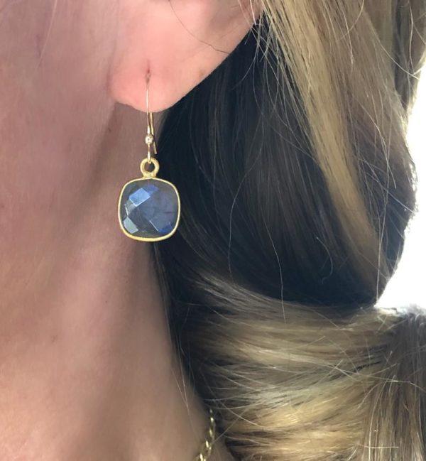 Gold Gem Earrings in Labradorite, London Blue Quartz or Aqua Chalcedony