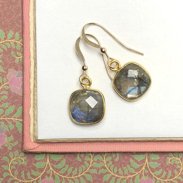 Gold Gem Earrings in Labradorite