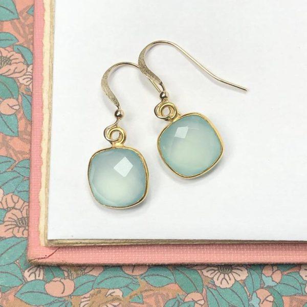 Gold Gem Earrings in Aqua Chalcedony