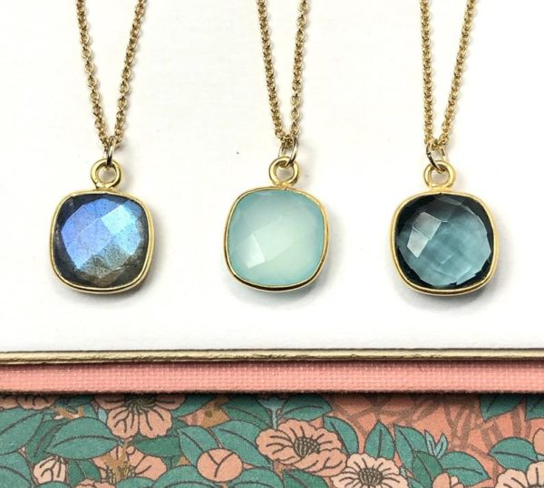 Gold Gem Earrings in Labradorite, London Blue Quartz or Aqua Chalcedony