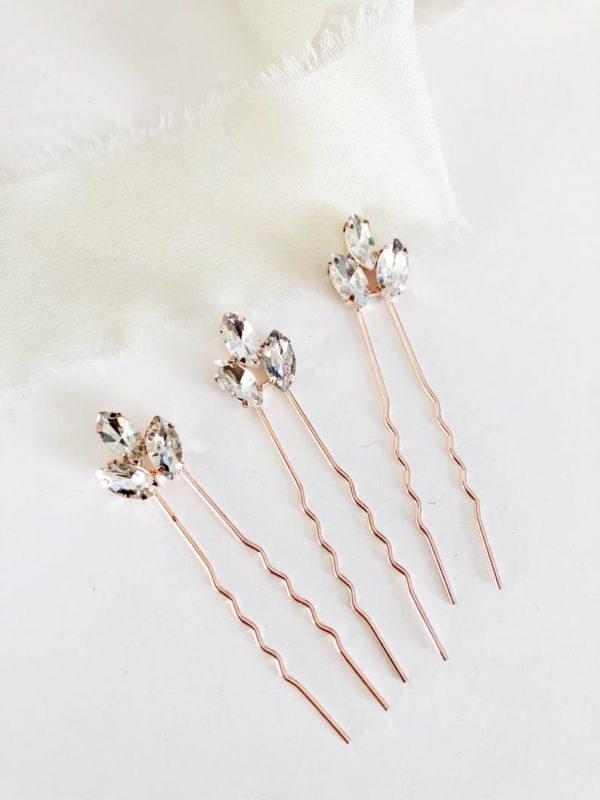 Rose Gold Diamond Hair Pin Set - Style #893243882