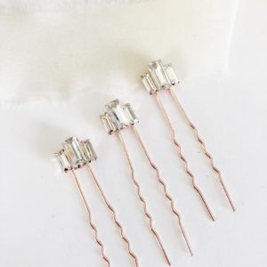 Rose Gold Diamond Hair Pin Set - Style #893243882