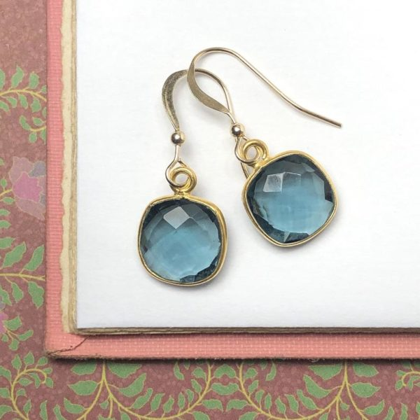 Gold Gem Earrings in Blue Quartz