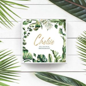 Tropical Green Bridesmaid Maid of Honor Proposal Box