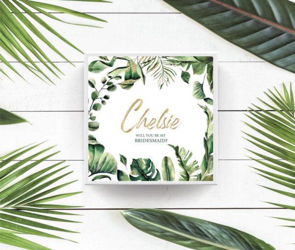Tropical Green Bridesmaid Maid of Honor Proposal Box