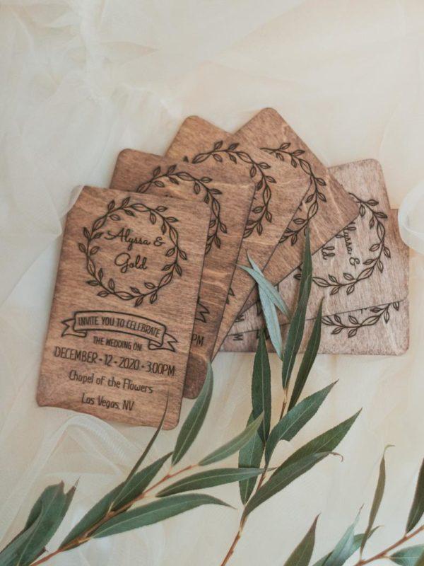 Engraved Wooden Wedding Invitation Set