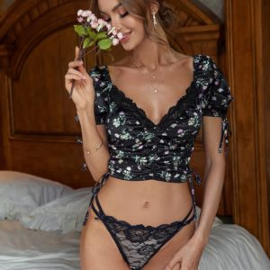 Black Bridal Floral Ruched Lace Tie Side Honeymoon Lingerie Set