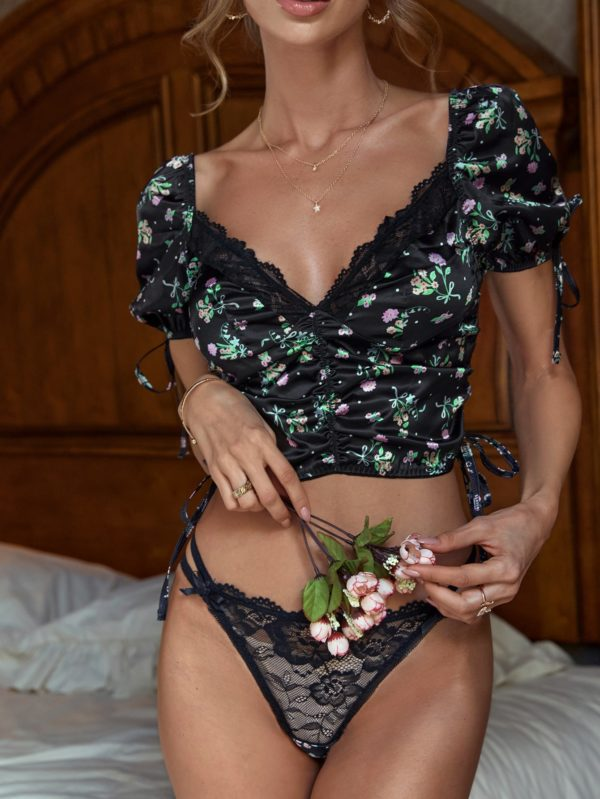 Black Bridal Floral Ruched Lace Tie Side Honeymoon Lingerie Set