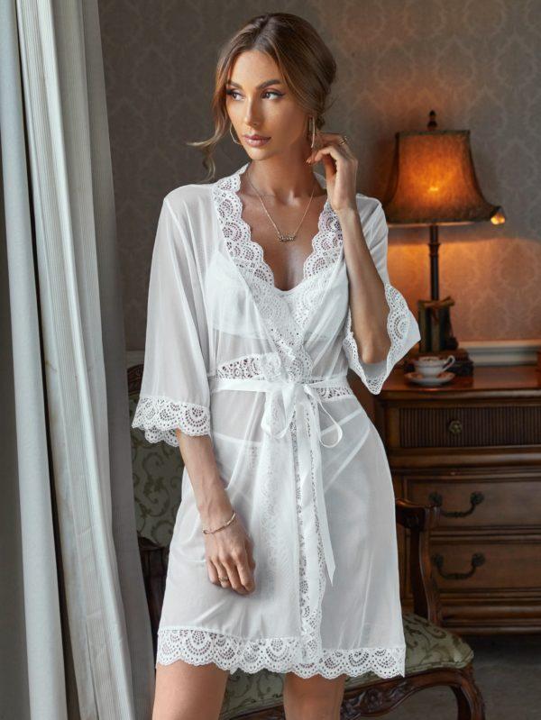 Romantic Honeymoon Bridal Underwire Lingerie Set and Lace Trim Robe