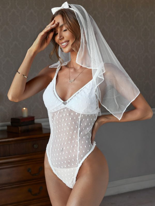 Bridal Teddy Bodysuit and Veil