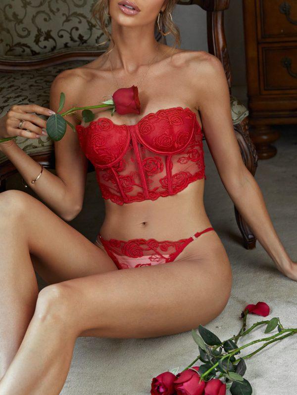 Romantic Bridal Embroidered Mesh Honeymoon Bandeau Lingerie Set