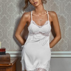 Honeymoon Bridal Contrast Lace Criss-Cross Backless Floral Satin Slips and Thong