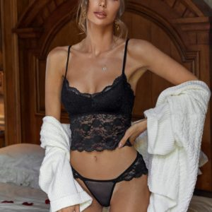Black Floral Honeymoon Lace Longline Bridal Lingerie Set