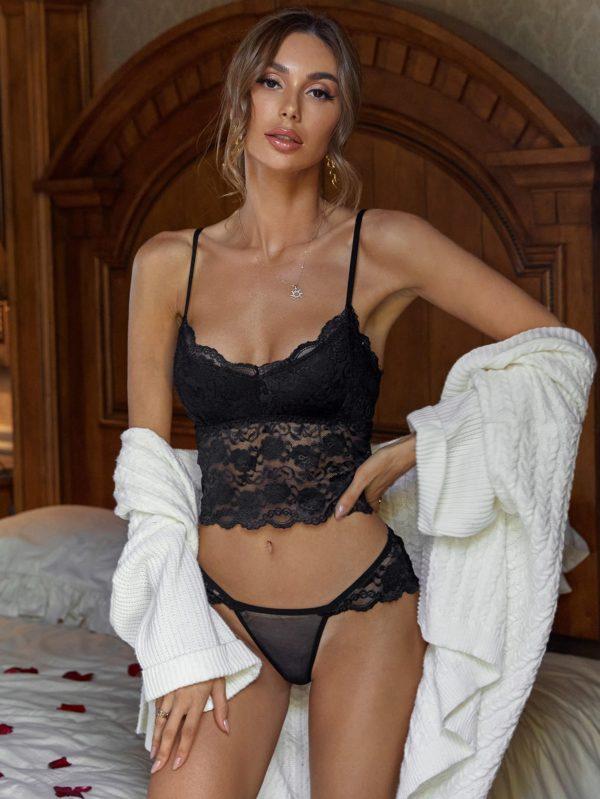 Black Floral Honeymoon Lace Longline Bridal Lingerie Set