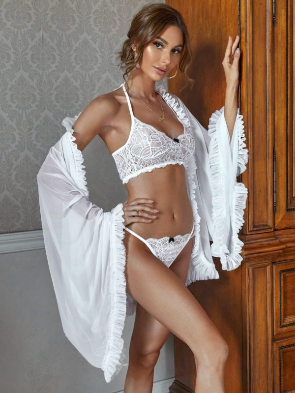 Bridal Floral Lace Honeymoon Lingerie Set and Mesh Belted Robe