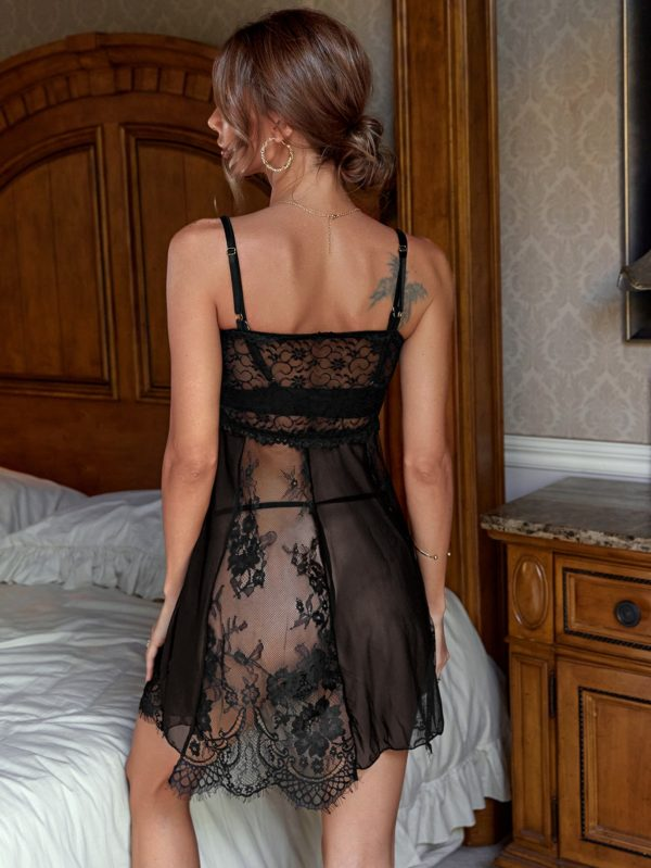 Romantic Honeymoon Contrast Mesh Bridal Lace Slips With Thong