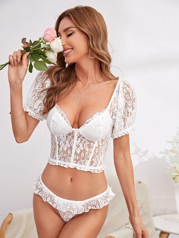 White Honeymoon Bridal Lace Lingerie Set