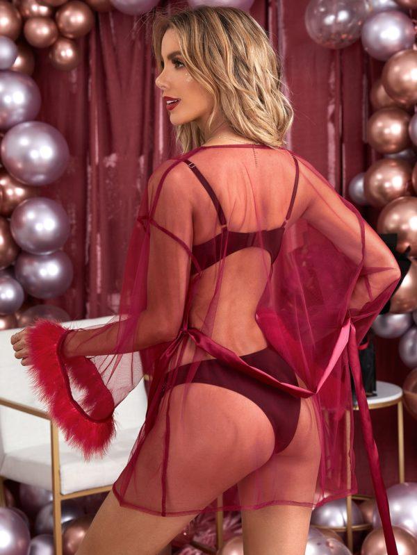 Sheer Long Sleeve Honeymoon Bridal Mesh Belted Robe