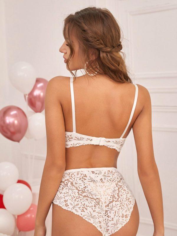 White Romantic Honeymoon Bridal Floral Lace Underwire Lingerie Set