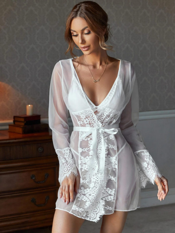 Romantic Sheer Honeymoon Floral Bridal Lace Lingerie Set and Belted Robe