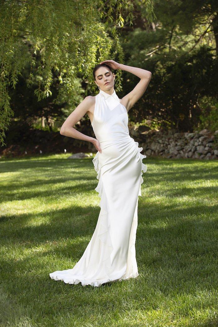 Christian Siriano - Bias Cut Draped Asymmetrical Satin Gown