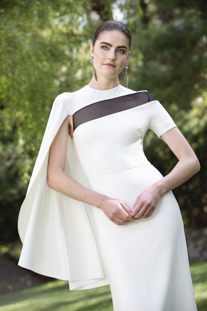 Christian Siriano - Crepe Modern Cape Sleeve Gown