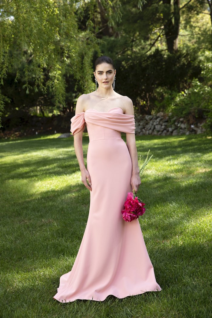 Christian Siriano - Crepe Off-The-Shoulder Draped Bodice Gown