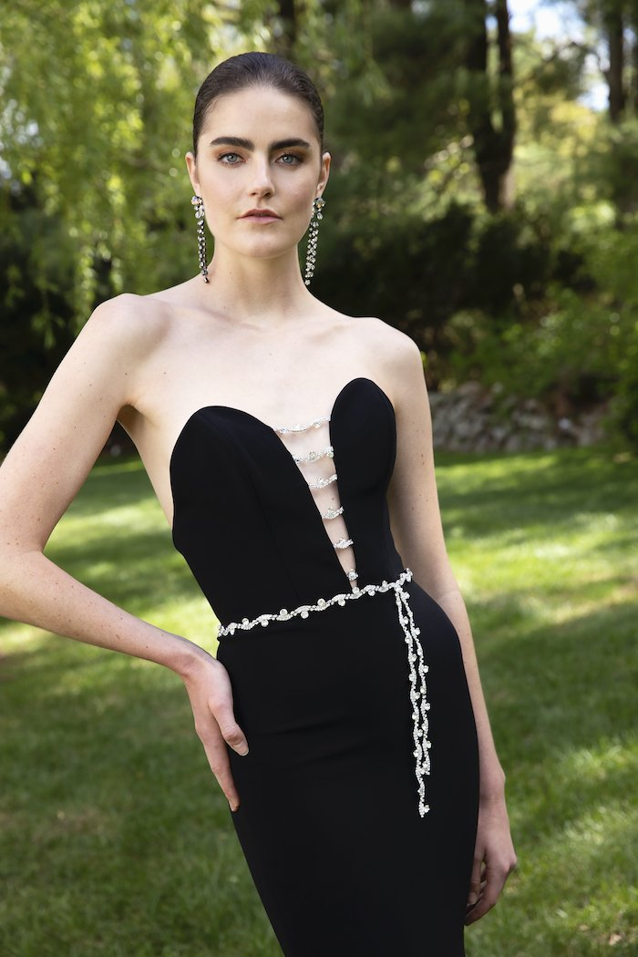 Christian Siriano - Crepe Strapless Deep-V Crystal Embellished Gown