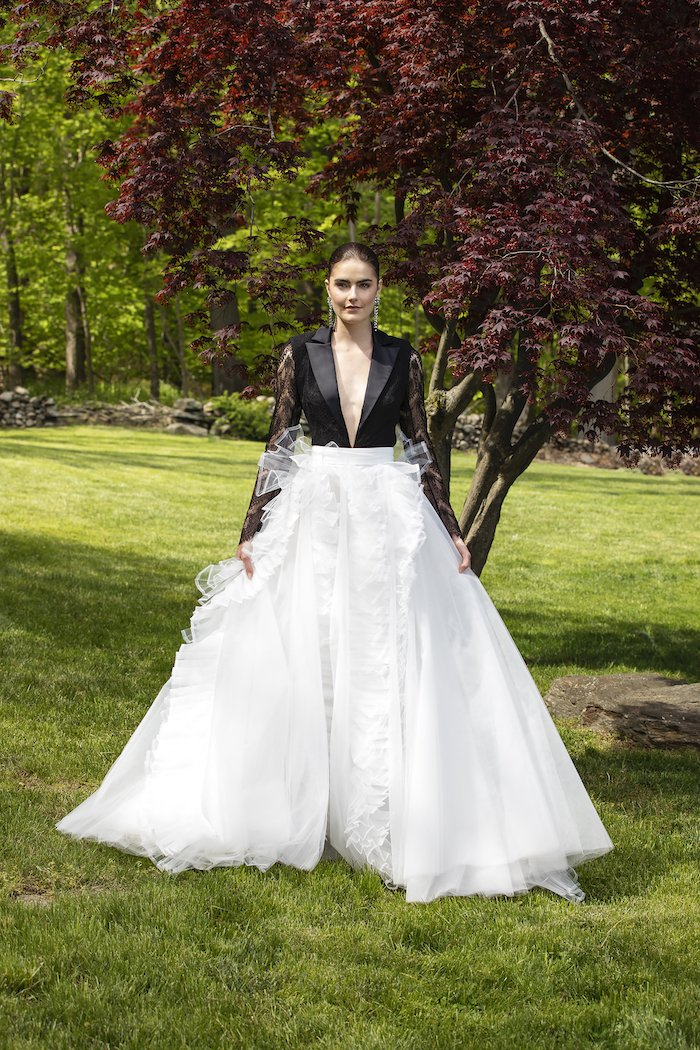 Christian Siriano - Cropped Lace Tuxedo Bodice with Organza and Tulle Ball Skirt