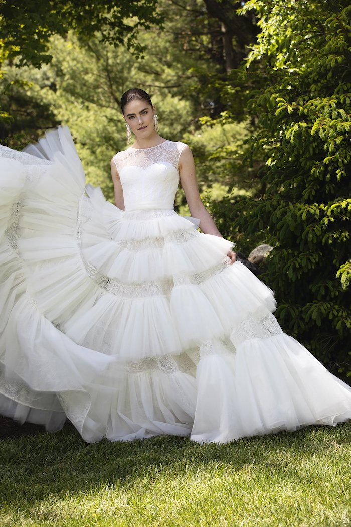 Christian Siriano - Lace and Tulle Cascading Tiered Gown