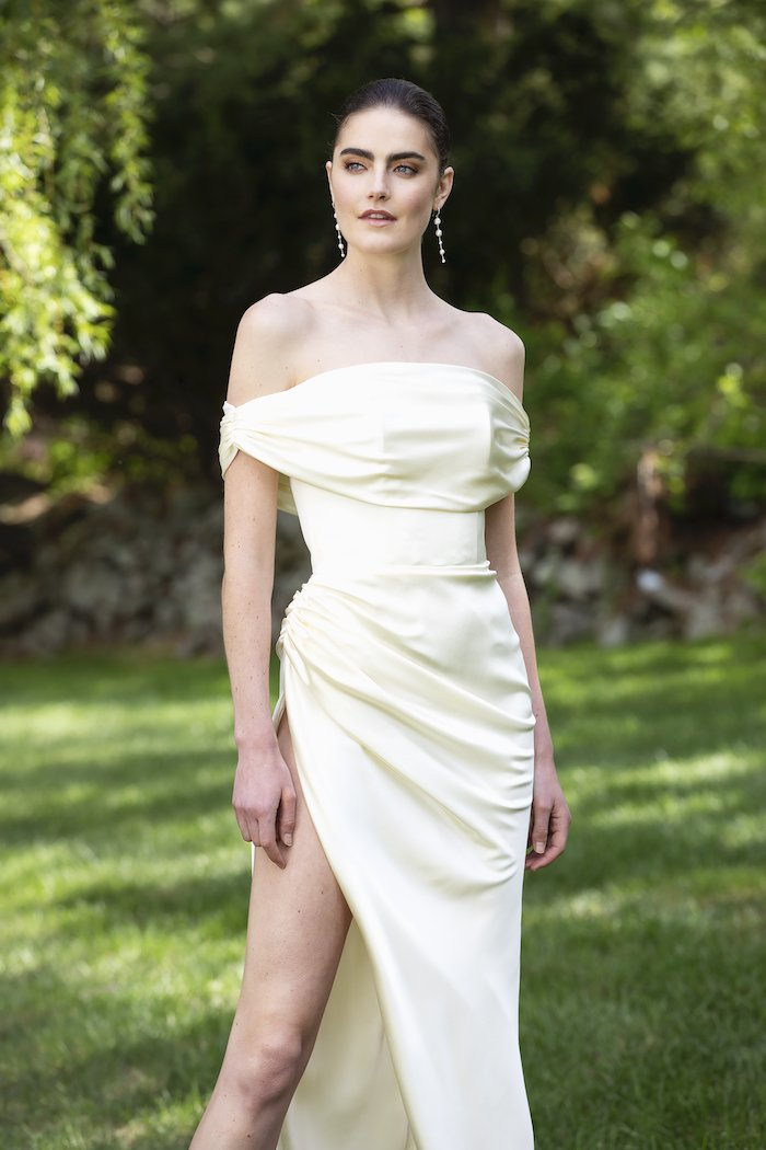 Christian Siriano - Satin Off-The-Shoulder Draped High Slit Gown