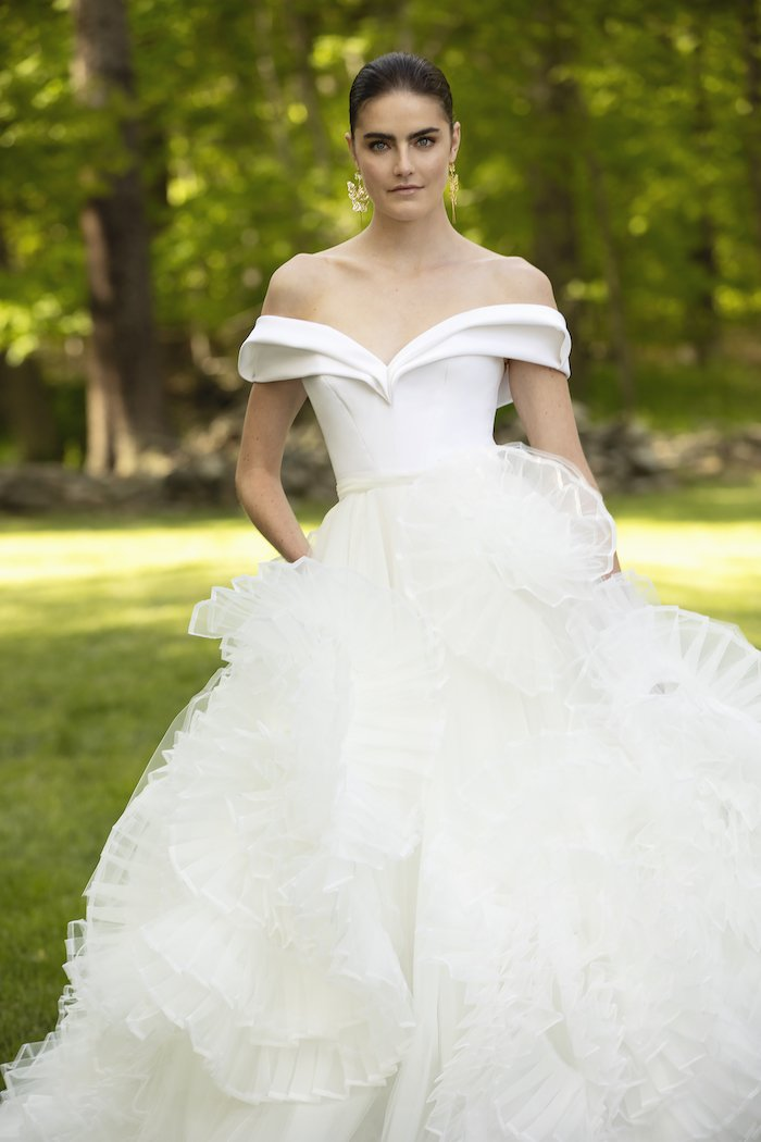 Christian Siriano - Sculpted Crepe Off-The-Shoulder Bodice with Organza and Tulle Rosette Skirt