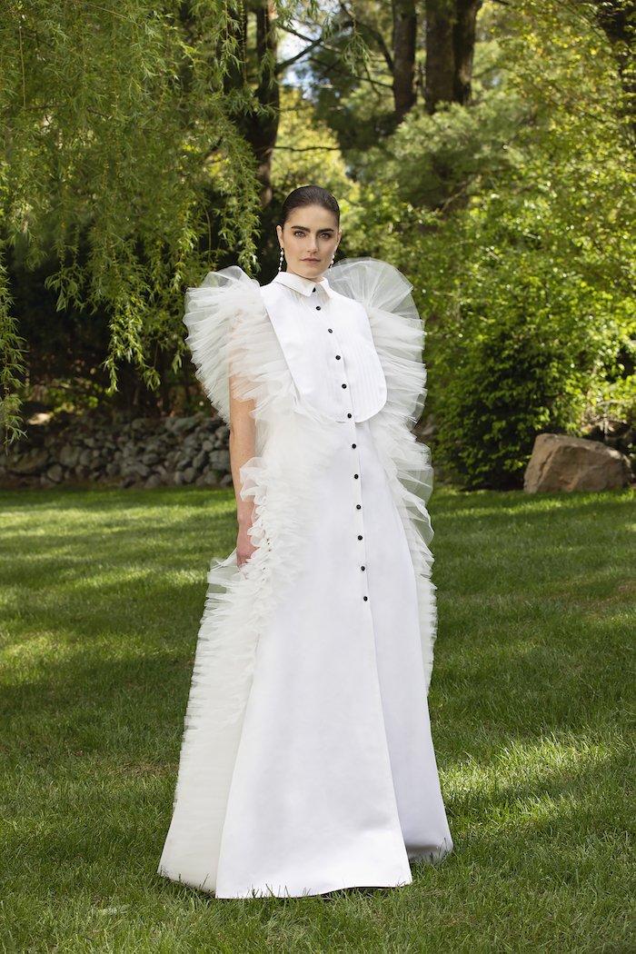 Christian Siriano - Silk Faille and Tulle Tuxedo Gown