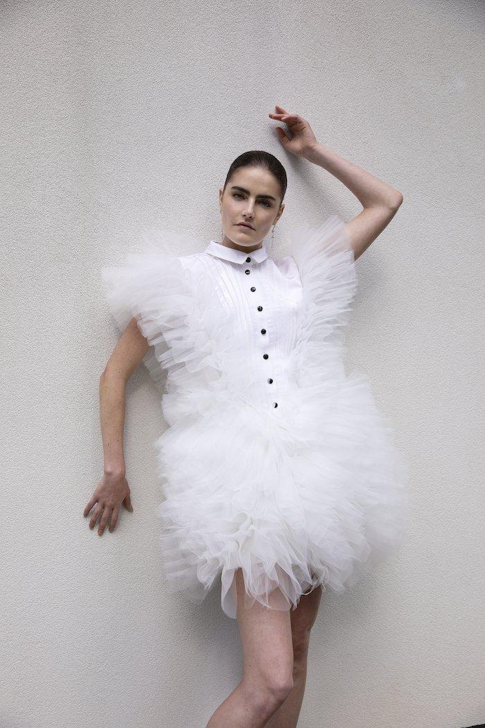 Christian Siriano - Silk Faille and Tulle Tuxedo Mini Dress