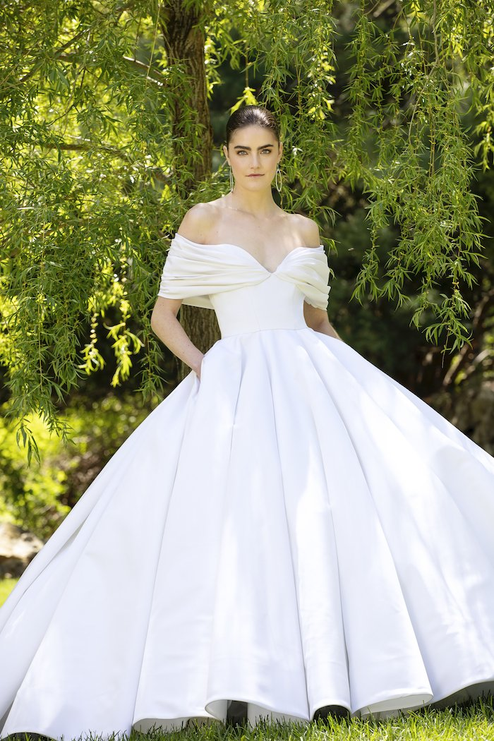 Christian Siriano - Silk Faille Off-The-Shoulder Draped Bodice Gown