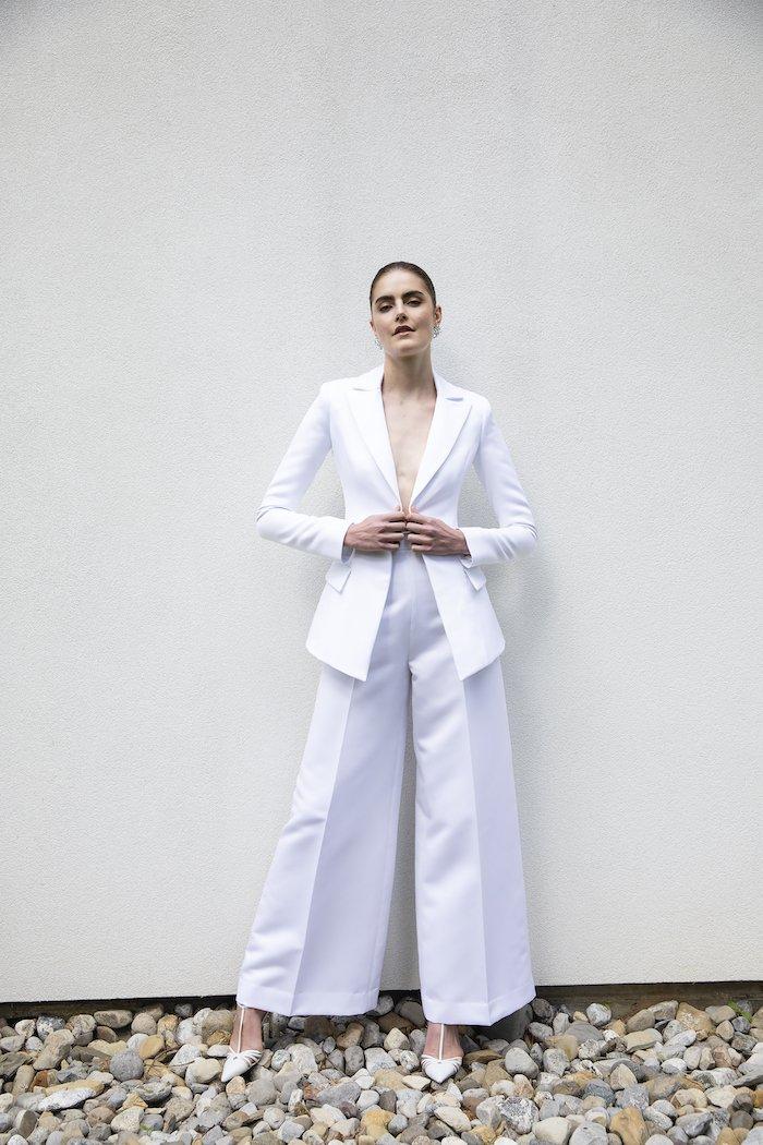 Christian Siriano - Silk Faille Single Button Blazer with Wide Leg Trouser Suit