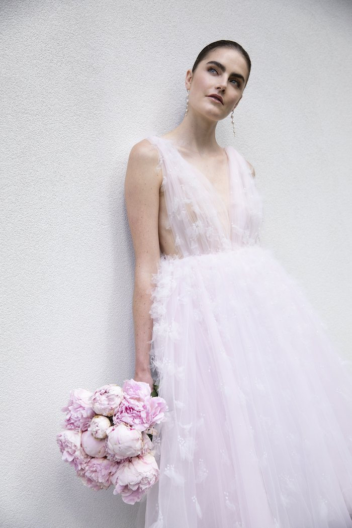 Christian Siriano - Tulle Pink Layered Applique Gown